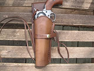 """Western Express – Left – for 6"""" Brown Smooth Leather Gun Holster (.22 .38 .45 Caliber)"""