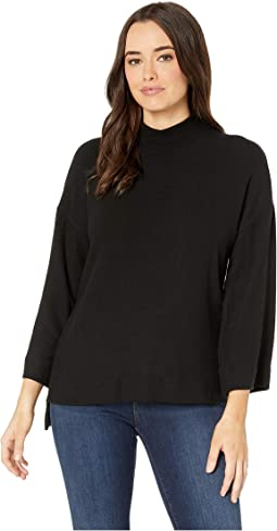Brushed High-Low Mock Neck Sweater