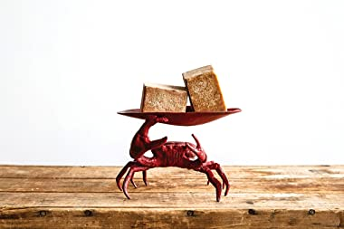 Creative Co-Op Distressed Red Decorative Cast Iron Crab Shaped Dish