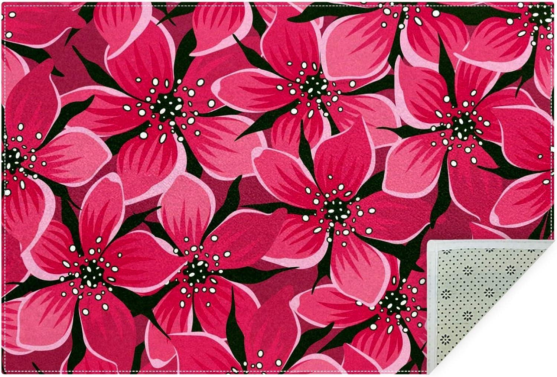 Unicey No-Shedding Non-Slip Machine Rectan Pink Flowers security Washable Fashionable