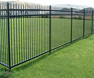Aspen Style 3-Rail Steel Fence Kit, Powder-Coated Black (6.5'W x 5'H)