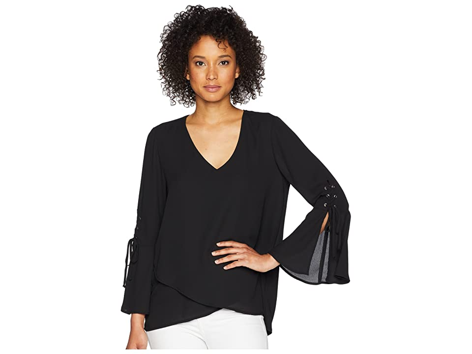 Karen Kane Split Tie Sleeve Top (Black) Women