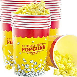 Premium Leak-Free 32 Oz Disposable Popcorn Cup 50pk By Avant Grub. Stackable Buckets With Fun Design. Great For Concession Stands, Carnivals, Fundraisers, School Events, Or Family Movie Nights.