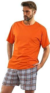 Sesto Senso Mens Pyjama Set Short Sleeves Cotton Nightwear Top and Bottom Sleepwear