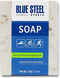 Blue Steel Sports Body SOAP with Tea Tree and Eucalyptus Oils - Large - 150 g / 5.3 oz