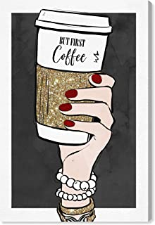 Wynwood Studio Fashion and Glam Wall Art Canvas Prints 'But First Coffee and Accessories' Home Décor, 24