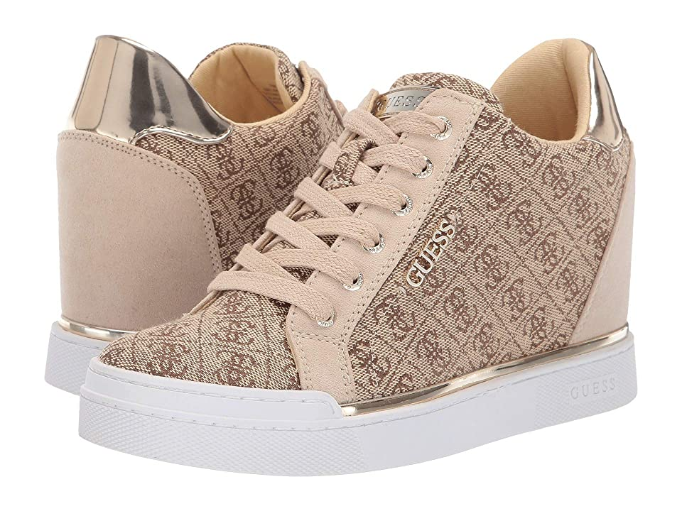 Image of GUESS Flowurs (Brown Multi Fabric) Women's Lace up casual Shoes