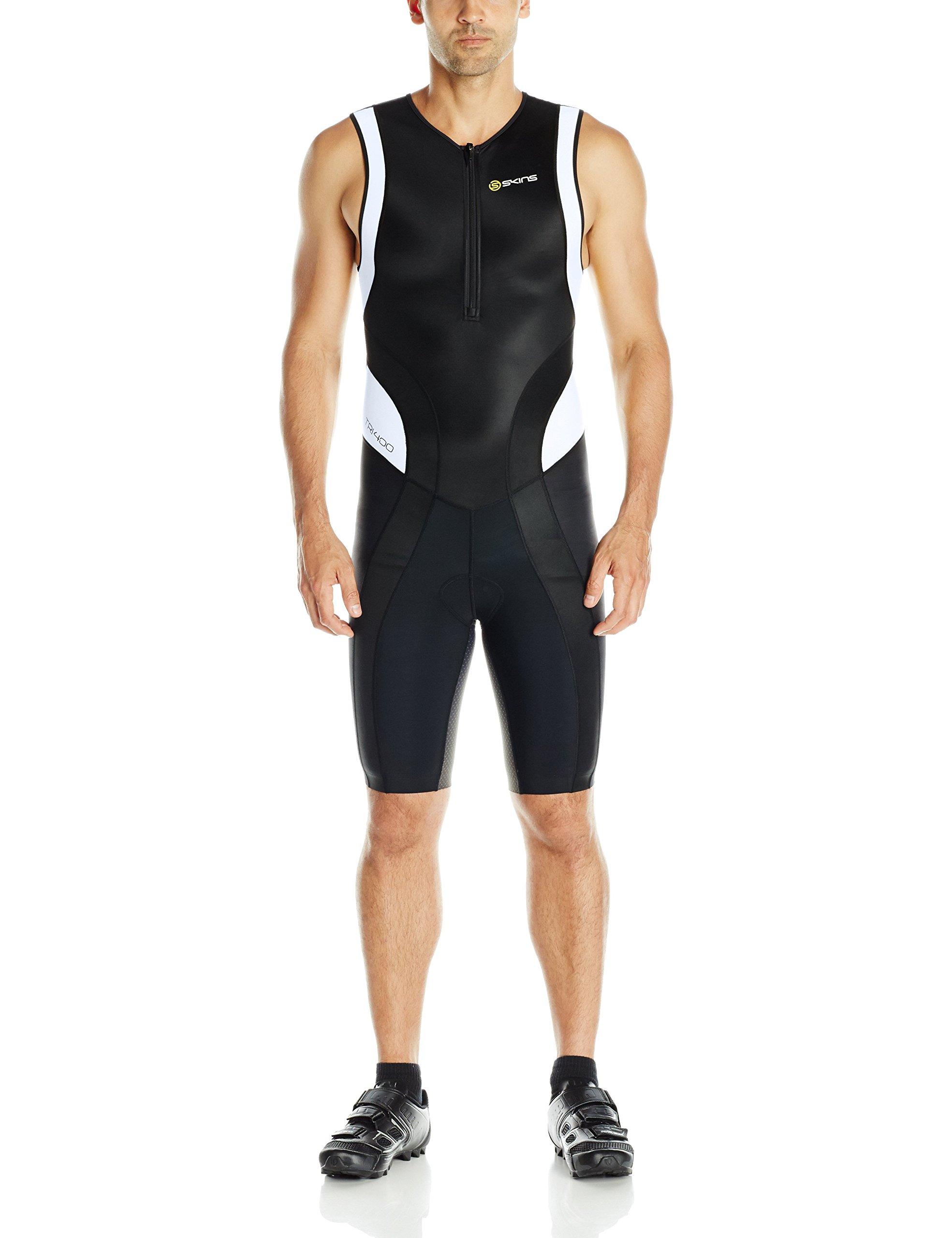Skins Herren Tri 400 Skinsuit Wfront Zip,Black/White, XS, ZT99360329055XS