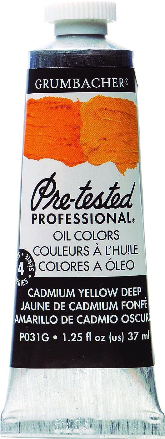 Grumbacher Pre-Tested Oil Paint, 37ml/1.25 Ounce, Cadmium Yellow Deep (P031G)