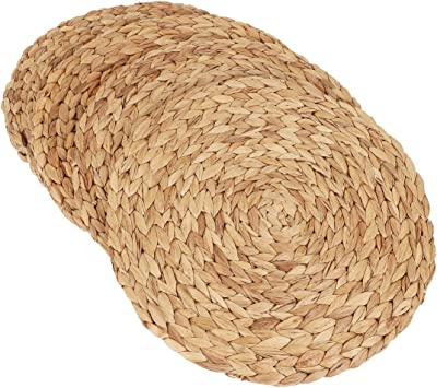 kilofly Natural Water Hyacinth Weave Placemat Round Braided Rattan Tablemats 14.5 inch x 4pc