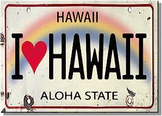 Pacifica Island Art Refrigerator Magnet - I Heart Love Hawaii License Plate