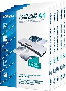 Waytex 500 Pochettes de plastification A4 2x75 Microns par face soit 150 Microns finition brillante A78273P500