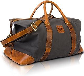Corno d´Oro Bolsa de viaje TB33 de piel y lona, 50 litros, para hombre y mujer, duffle bag para equipaje de mano, bolso de...