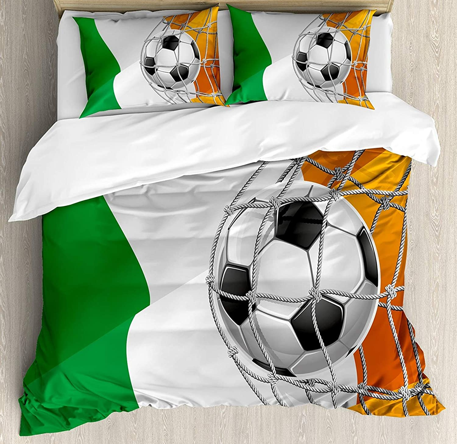 Irish Duvet Cover Set Twin Size, Sports Theme Soccer Ball in a Net Game Goal Ireland National Flag Victory Win,Lightweight Microfiber Duvet Cover Sets, Multicolor
