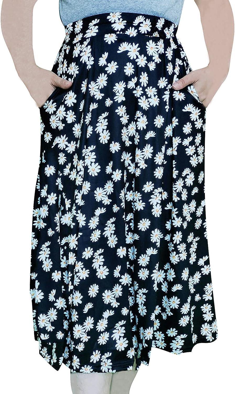 sofeidyer Womens Midi Skirt Elastic Hight Waist Floral Maxi Skirt A Line with Pocket