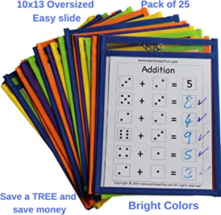 $21 » Dry Erase Pockets Bulk Sheet Protectors - 25 Pack Reusable Oversized Pouches 10x13 inch - Write and Wipe Sleeves - Erasable Folder Easy Insert - School and Work Supply