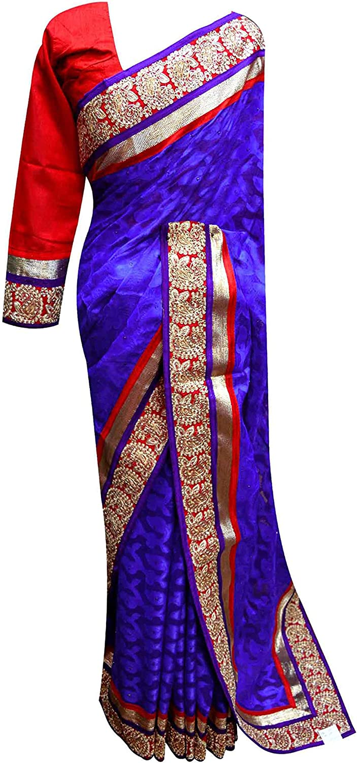 bluee designer saree with Red silk blouse for Bollywood theme party occasion 7086