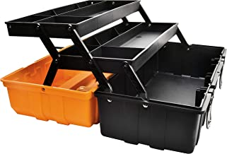 17-Inch Multi-Purpose 3-Layer Toolbox with Tray and Dividers,Household Plastic Tool..