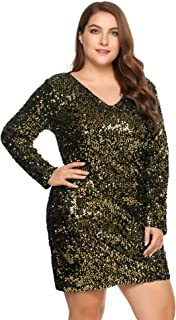 9d767eaa01eb IN'VOLAND Women's Plus Size Glitter V-Neck Long Sleeve Bodycon Sequin  Cocktail Party