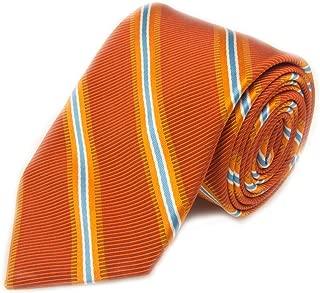Best Of Class Orange And Blue Stripe Woven Silk Blend Tie