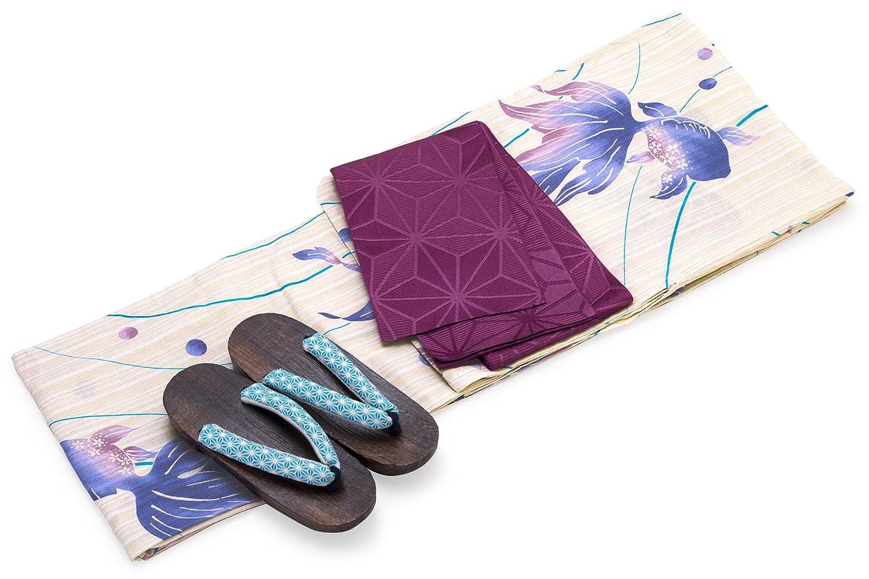 レディース浴衣セット[浴衣/半幅帯] bonheur saisons 薄茶色 ベージュ 生成色 青 紫色 パープル 金魚 流水 綿麻 浴衣セット 女性 フリーサイズ