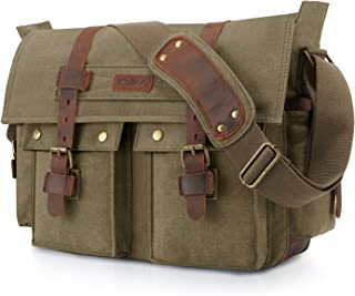 Kattee Unisex's Classic Canvas Shoulder Messenger Bag Leather Straps X-Large (Army Green)