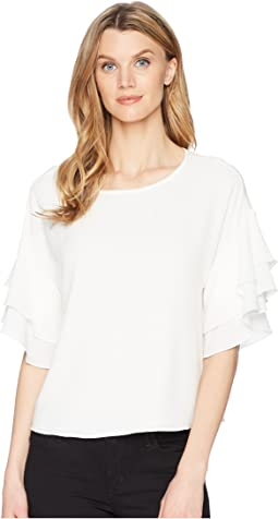 Drop Shoulder Tiered Sleeve Textured Blouse