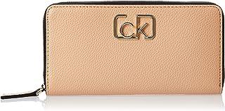 محفظة بسحاب كبير مُلتف وتوقيع باسم العلامة التجارية، لون بني، قياس 19 سم من كالفن كلاين، موديل K60K606065