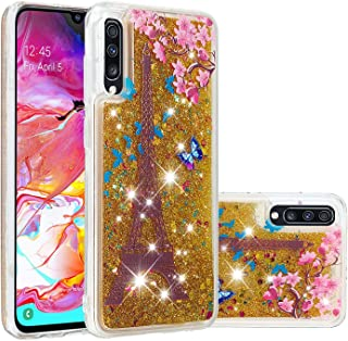 Glitter Case for Samsung Galaxy A70,QFFUN Bling Floating Liquid Quicksand Soft Clear Slim Fit Silicone Case with Screen Protector Shockproof Transparent Protective Cover Bumper - Butterfly Tower