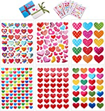 Konsait 60 Sheets Valentine Heart Stickers Love Decorative Sticker for Kids Envelopes Cards Craft Scrapbooking for Great P...