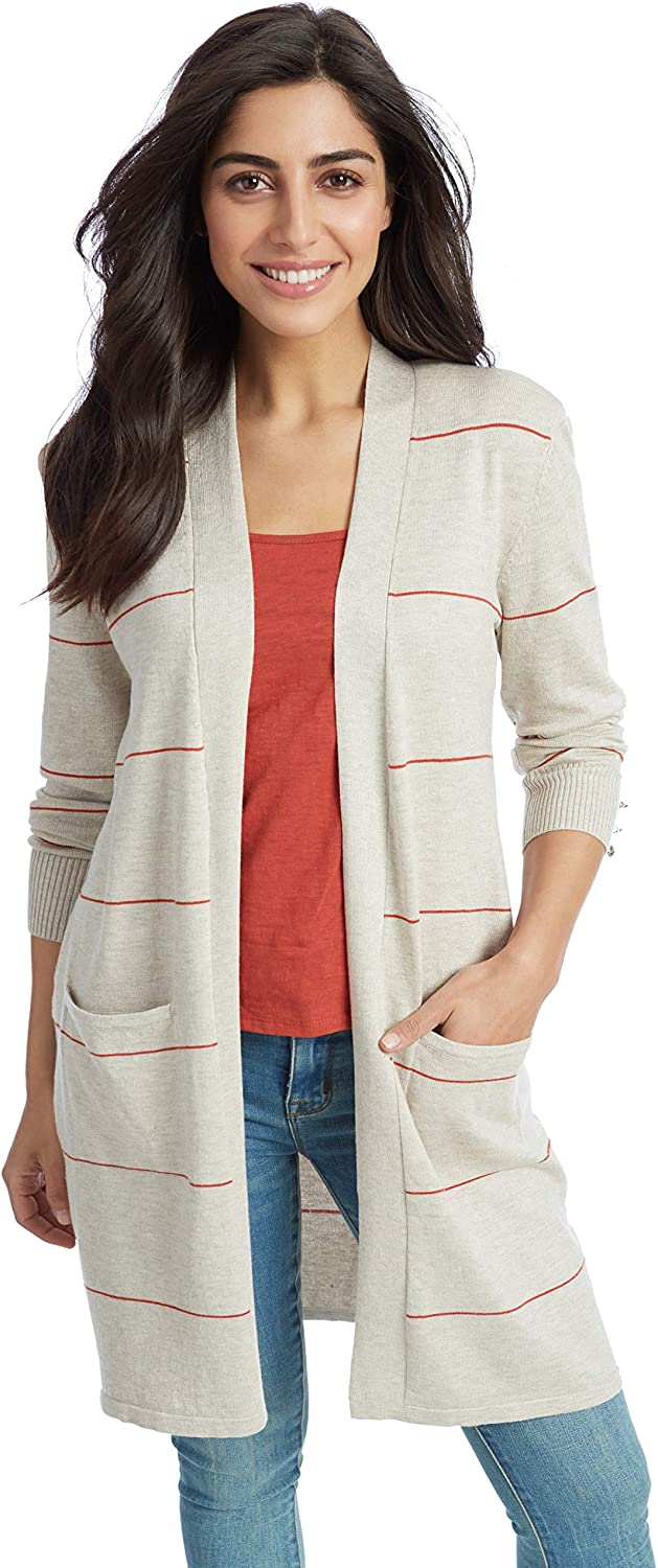 89th + Madison Women's Striped Open Front Duster Cardigan with Pockets