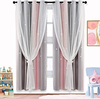 ARTBECK Star Curtains Kids Curtains for Girls Bedroom...