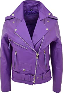 Womens Real Leather Brando Biker Jacket Classic Cross Zip Style Payton Purple