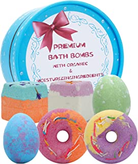 6Pcs Bath Bomb Gift Set for Women and Kids, Andmax Multi-Colored Handmade Natural Essential Oil and Organic Bubble Bathbom...