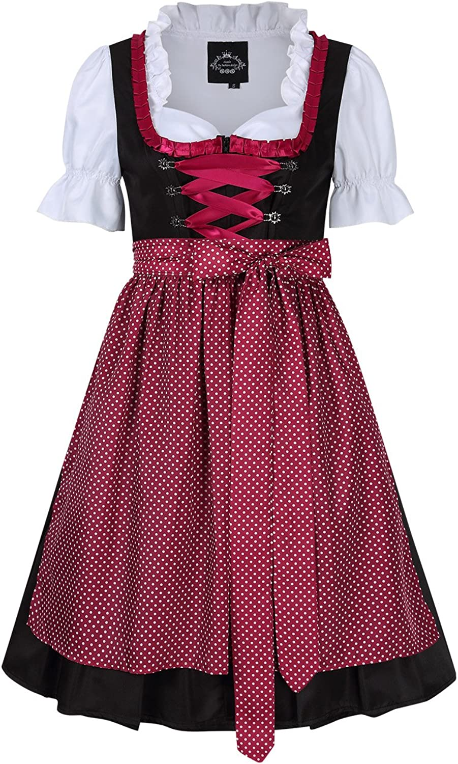 Women's Oktoberfest Fraulein Costume,Short Sleeve Dirndl Dress Three PCS Suit with Red Dot Lace Trim M
