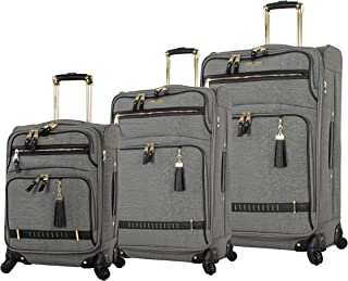 Steve Madden Luggage 3 Piece Softside Spinner Suitcase Set Collection (PEEK-A-BOO Grey, One Size)