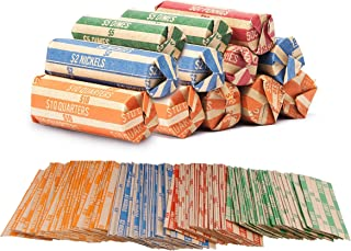 Coin Roll Wrappers - (440 Pack) Assorted Flat Coin Papers Bundle of Quarters Nickels Dimes Pennies