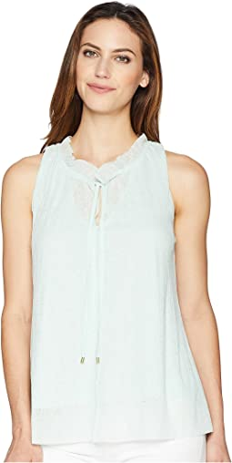 Shirred Neck Sleeveless Top
