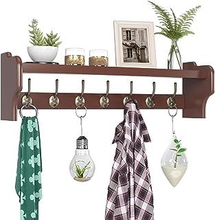 Homfa 木製コートラックシェルフ 壁取り付け 長さ31インチ 吊り下げ 上部棚 7つのデュアルメタルフック付き 玄関 ムードロム バスルーム キッチン 浴室 ウォールナットブラウン