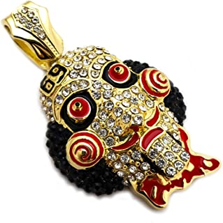 BLINGFACTORY Hip Hop Iced Out Tekashi69 Lab Diamond Gold Plated Large Jigsaw Pendant