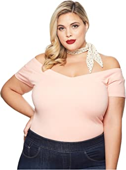Plus Size Knit Cap Sleeve Deena Top