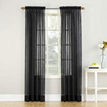 """No. 918 Erica Crushed Texture Sheer Voile Rod Pocket Curtain Panel, 51"""" x 84"""", Black"""