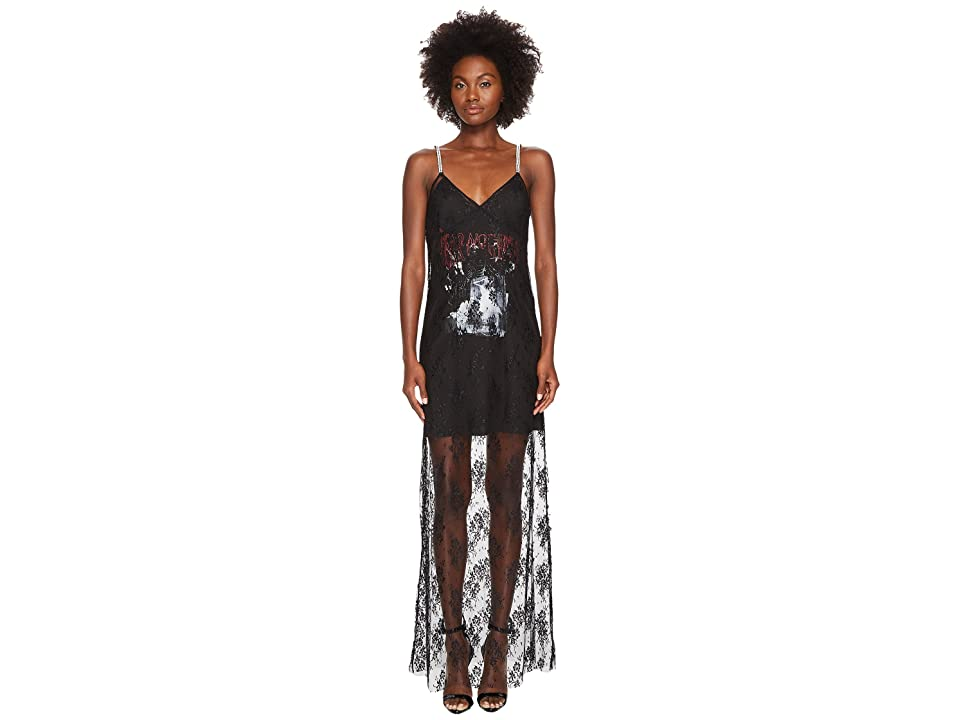 McQ Strap Bias Mixed Lace Dress (Darkest Black) Women