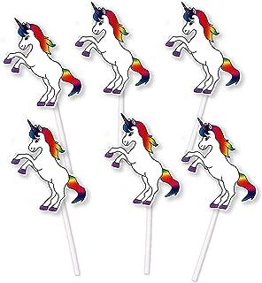 Decoración para Cupcakes de Unicornio arcoíris (24 Unidades), para Fiesta de cumpleaños o Evento