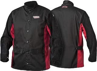 Lincoln Electric Split Leather Sleeved Welding Jacket | Premium Flame Resistant Cotton Body | Black & Red | XXXL | K2986-XXXL