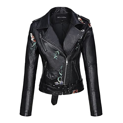 92f277655a Bellivera Women s Faux Leather Casual Short Jacket,Moto Floral Coat with 2  Pocket