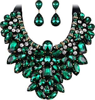 8 Colors Women's Stunning Crystal Costume Statement Necklace Earrings Set for Banquet, Prom