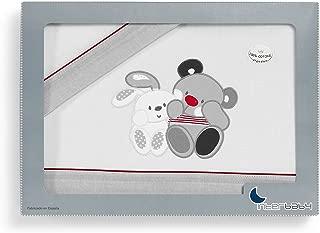 Interbaby Amigos - Juego de sábanas para minicuna, color gris