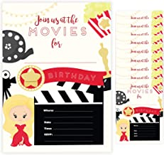 Movies Style 1 Happy Birthday Invitations Invite Cards (10 Count) With Envelopes Boys Girls Kids Party (10ct)