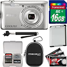 Nikon Coolpix A300 Wi-Fi Digital Camera (Silver) with...